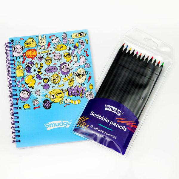 Mini Monster Spiral Notebook & Scribble Pencil Set