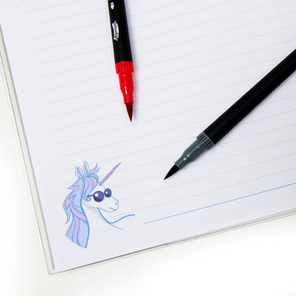 Unicorn Notebook Pens Detial 1024x1024 600x600 - Unicorn Ate My Homework A4 Premium Notebook
